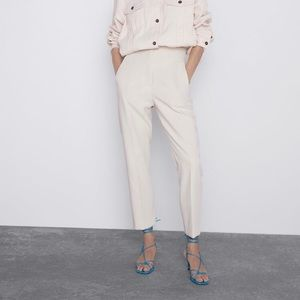 ZARA WHITE HIGH-WAISTED TROUSERS SIZE XS